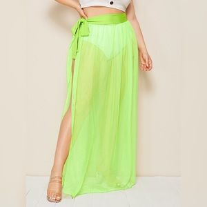 Neon Cover Up High Slit Sheer Beach Vacation Skirt